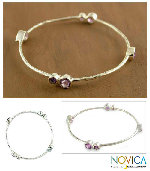 Sterling Silver Bangle Amethyst Bracelet from India 'Tango'