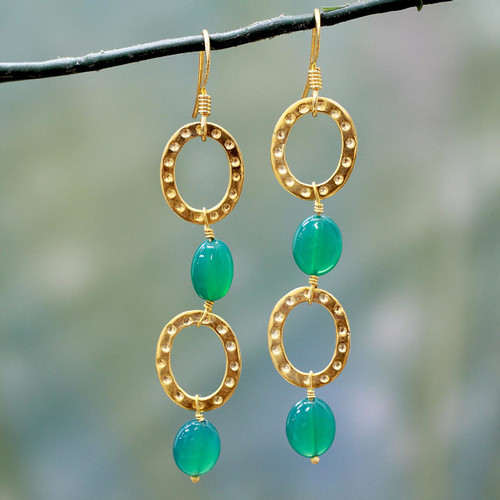 Gold Vermeil and Onyx Dangle Earrings 'Love of Life'