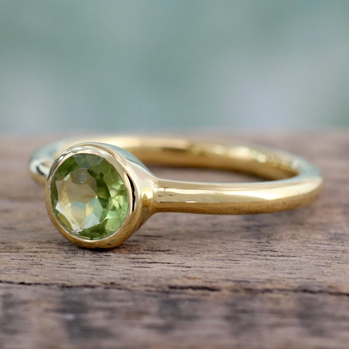 Peridot Solitaire Ring in Gold Vermeil from India Jewelry 'Verdant Nature'