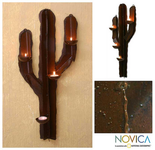 Rustic Mexican Handcrafted Steel Wall Sculpture Candleholder 'Desert Cactus'