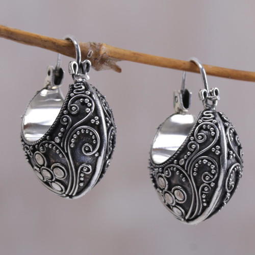 Floral Sterling Silver Hoop Earrings 'Bali Paradise'