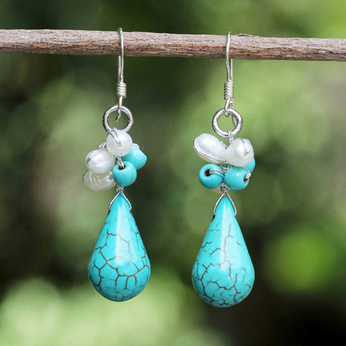 Hand Made Turquoise Colored Dangle Earrings 'Tropic Blue'