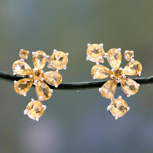 Hand Made Floral Citrine Button Earrings 'Sunshine Petals'