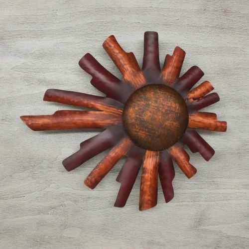 Hand Made Sun Sculpture Mexican Steel Wall Art 'Two Suns'