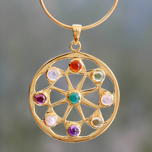 Pearl and Gemstones on Gold Vermeil Necklace 'Indian Sun'
