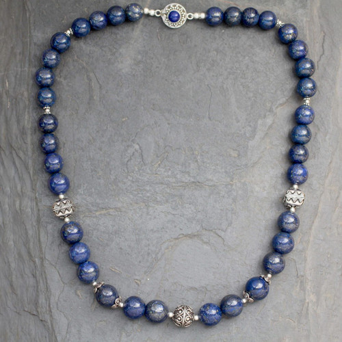 Handmade Sterling Silver and Lapis Lazuli Beaded Necklace 'Elegance'