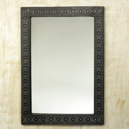 Contemporary Wood and Aluminum Mirror 'African Princess'