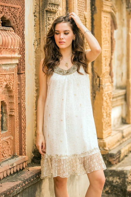 White Beaded A-Line Dress with Sequins and Ruffles 'Golden'