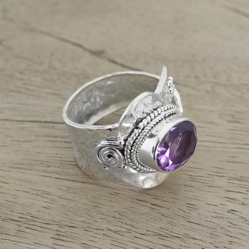 Sterling Silver Wrap Amethyst Ring India Jewelry 'Her Majesty'