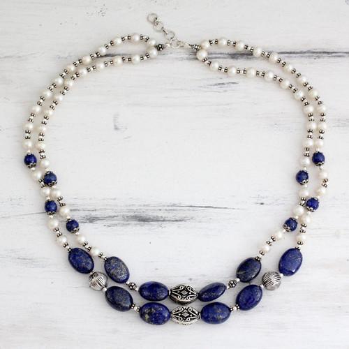 Pearl and lapis lazuli strand necklace 'Delhi Princess'