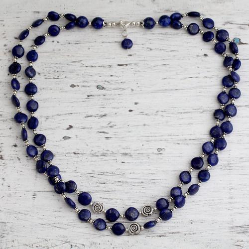 Lapis lazuli strand necklace 'Midnight Breeze'
