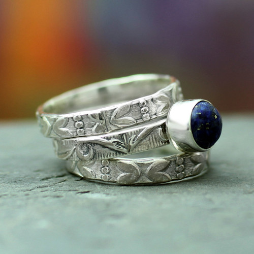 Floral Jewelry Sterling Silver Stacking Lapis Lazuli Ring 'Love Foretold'