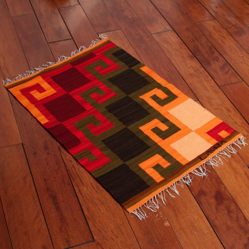 Collectible Hand Loomed Wool Area Rug 'Fiery Hills'