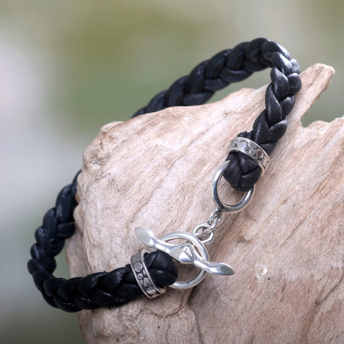 Men's Leather Braided Bracelet 'Time'
