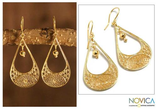 Peruvian 21K Gold Plated Filigree Dangle Earrings 'Teardrop'