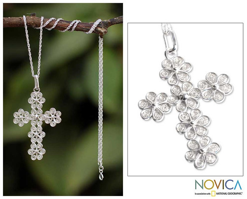 Artisan Crafted Fine Silver Filigree Cross Necklace 'Filigree Flowers'