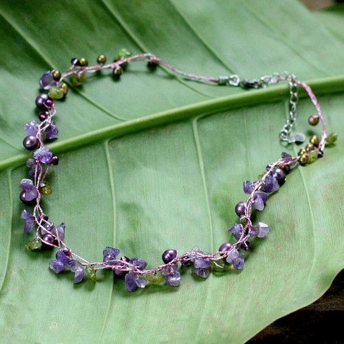 Amethyst and Peridot Necklace Handmade in Thailand 'Tropical Elite'