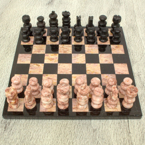 Handcrafted Mexican Marble Chess Set (Medium) 'Glorious Battle'