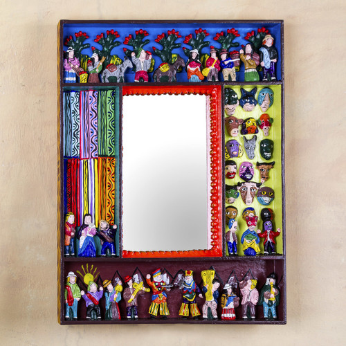 Folk Art Wood Mirror with Folk Art Scenes 'Scenes from the Andes'