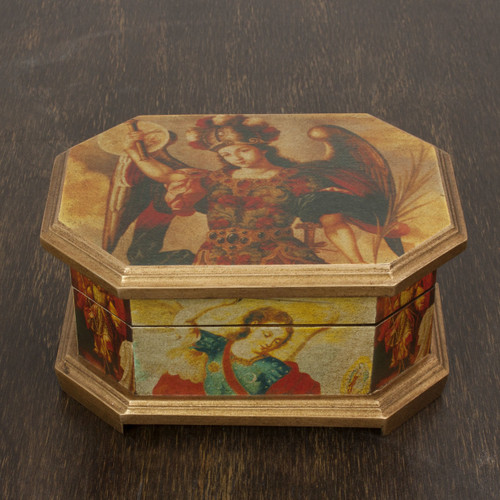 Decoupage Wood Jewelry Box with Angels 'Archangels'