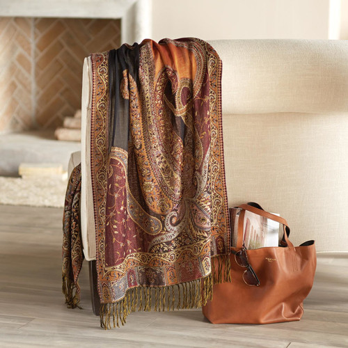 Indian Jamawar Wool Shawl with Paisley Motifs 'Himalayan Heirloom'