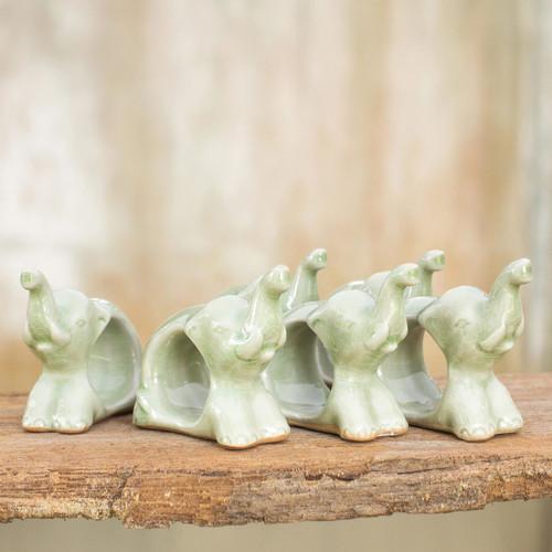 Hand Made Celadon Ceramic Napkin Rings (Set of 6) 'Elephant Hello'