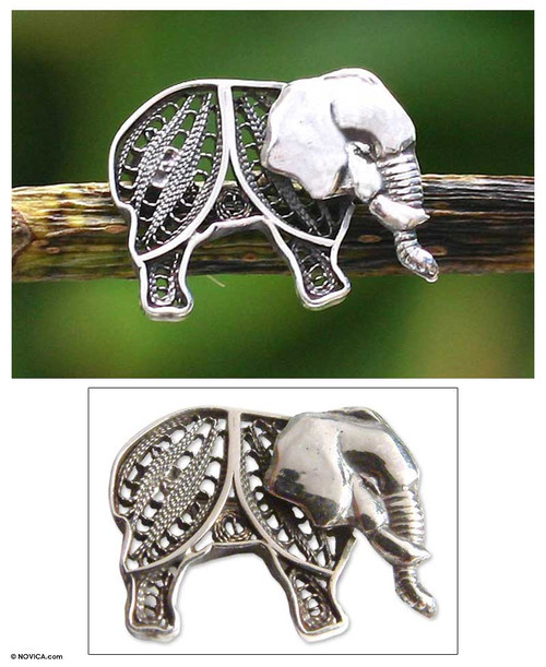 Silver filigree brooch pin 'Young Elephant'