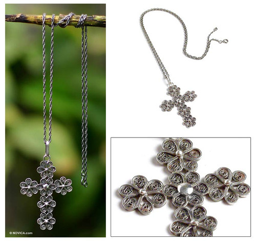 Unique Women's Sterling Silver Filigree Cross Necklace 'Antique Cross of Flowers'