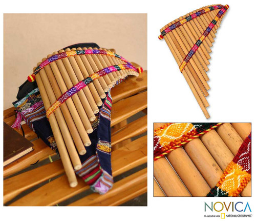 Peruvian Bamboo Wind Panpipe with Case 'Andean Zampona'