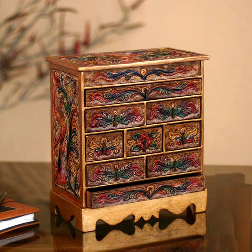Hand Made Colonial Leather and Wood Jewelry Box 'Happy Hummingbird'