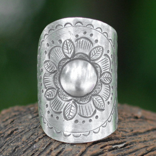 Floral Sterling Silver Wrap Ring 'Majestic Sunflower'