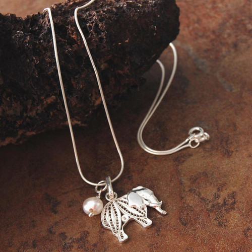 Handmade Silver and Pearl Elephant Filigree Pendant Necklace 'Mighty Elephant'