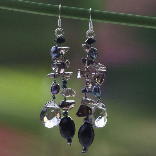 Cultured Pearl and Sterling Silver Dangle Earrings 'Nocturnal Symphony'