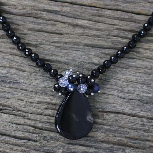 Hand Crafted Beaded Chalcedony Necklace from Thailand 'In Dreams'