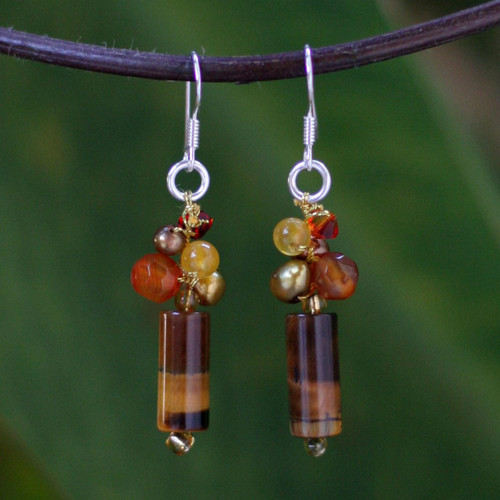 Unique Tiger's Eye Dangle Earrings 'Insightful'