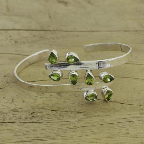 Sterling Silver Cuff Peridot Bracelet Modern Jewelry 'Forest Fern'