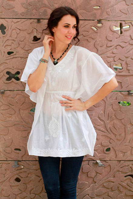 White Cotton Long Caftan Blouse with Hand Embroidery 'Snow Blossom'
