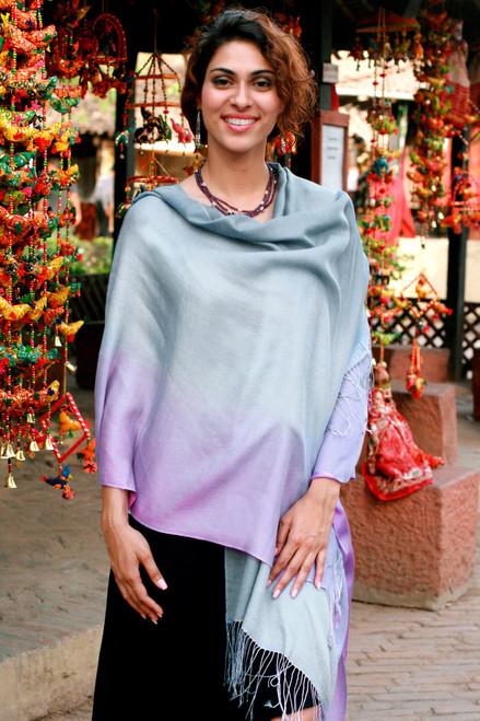 Silk and wool shawl 'Lavender Charm'