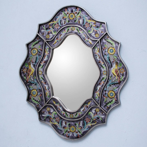 Wild Violets Reverse Painted Glass Wall Mirror 'Spring Violets'