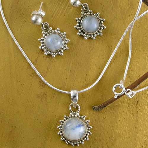 Good Fortune Sterling Silver Pendant Moonstone Jewelry Set 'Goddess'