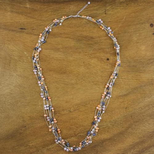 Thai Pearl Strand Necklace 'Sweet Crocus'