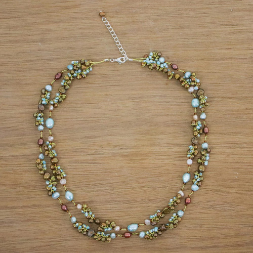 Pearl strand necklace 'Delightful Blue'