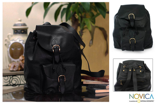 Black Leather Back Pack from Mexico 'Liquorice'