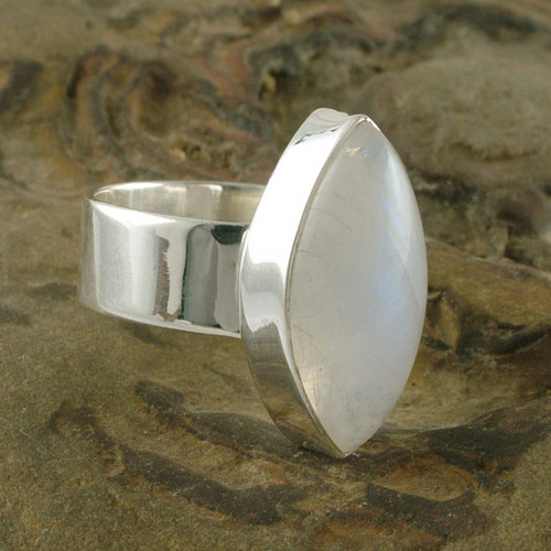 Hand Made Modern Sterling Silver and Moonstone Ring 'Asymmetry'