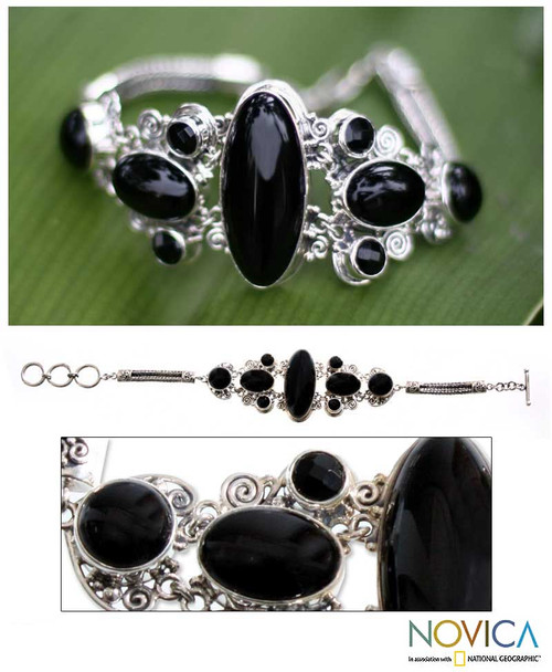 Sterling Silver and Onyx Bracelet from Indonesia 'A Night to Remember'