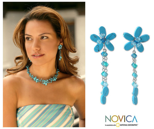 Floral Turquoise Colored Earrings 'Blossom Blessing'
