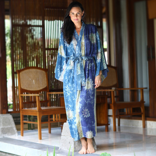 Women's Hand Made Batik Robe 'Blue Baliku'