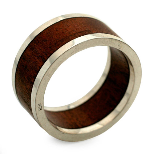 Men's Wood and Silver Band Ring 'Forest Halo'