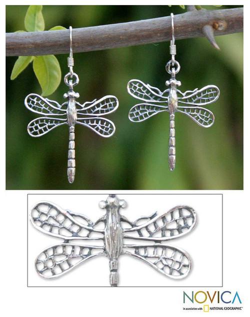 Handmade Sterling Silver Dangle Earrings 'Wings of Love'