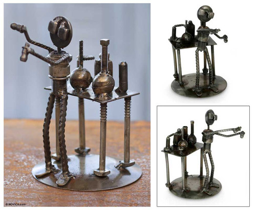 Collectible Recycled Metal Sculpture Handmade in Mexico 'Rustic Scientist'